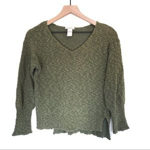 Sundance green boucle V-neck sweater